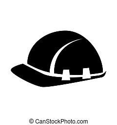silhouette, noir, ouvrier, casque, icône