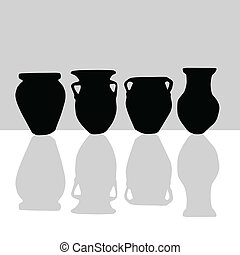 silhouette, noir, pot