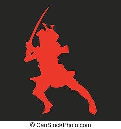 silhouette, noir, samouraï, fond, katana, rouges