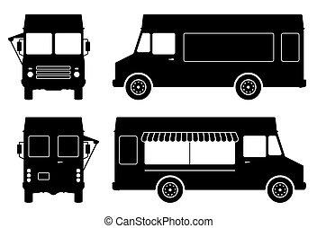 silhouette, nourriture, côté, camion, vue, illustration, dos, vecteur, devant