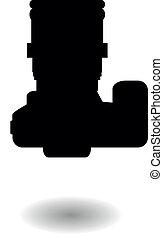 silhouette, numérique, slr, vecteur
