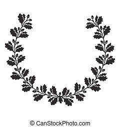 Silhouette oak wreath. Hand drawn vector illustration