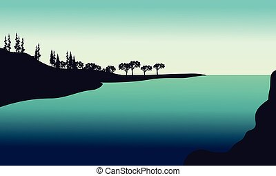 Silhouette od hills in river with green backgrounds