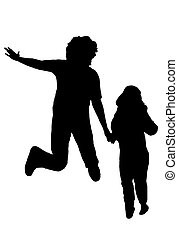 silhouette of 2 girls jumping