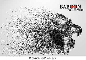 Silhouette of a baboon from particles.