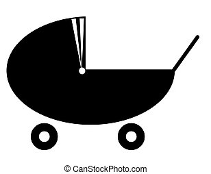 silhouette of a baby pram or stroller