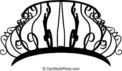 Silhouette of a baroque balcony - Vector illustration of a...