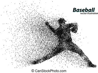 silhouette of a baseball player from particle. Text on a ...