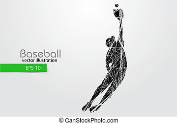 Silhouette of a baseball player. Vector illustration.