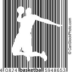 Silhouette of a basketball player and barcode. - Silhouette...