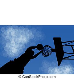 Silhouette of a basketball Ring in the game