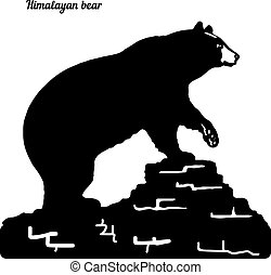 Silhouette of a bear on a hill, raised a paw, on a white background