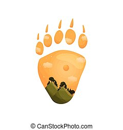 Silhouette of a bear track with a landscape inside. Vector illustration on white background.