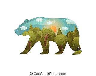 Silhouette of a bear with a landscape inside. Vector illustration on white background.