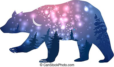 Silhouette of a bear with space galaxy background effect