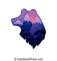 Silhouette of a bear's head with a landscape inside. Vector illustration on white background.