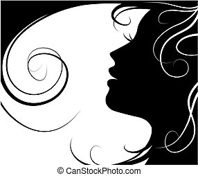 silhouette of a beautiful girl