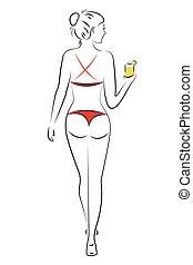Silhouette of a beautiful girl in a bikini,