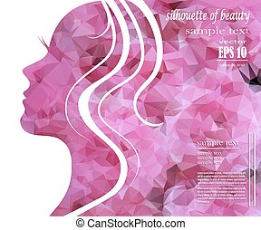 silhouette of a beautiful girl in pink