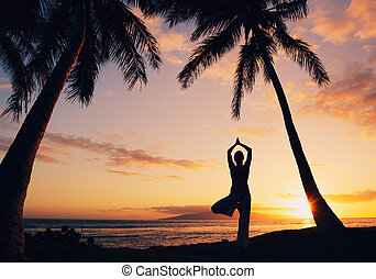 Silhouette of a Beautiful Yoga Woman at Sunset
