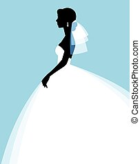 Silhouette of a beautiful young bride in a wedding dress