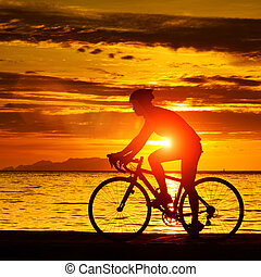 biker - Silhouette of a biker on the beach at dusk.