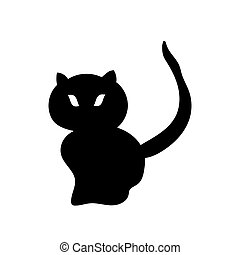 Silhouette of a black cat. Vector illustration. Hand drawing.