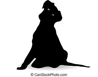 Silhouette of a black dog sitting (surprised), Cartoon on a white background.