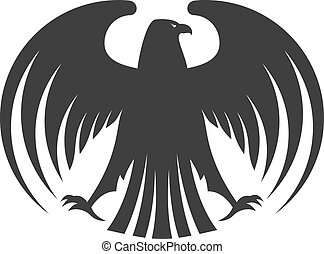 Silhouette of a black eagle with outspread wings and its...