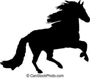 Silhouette of a black horse running, on white background,