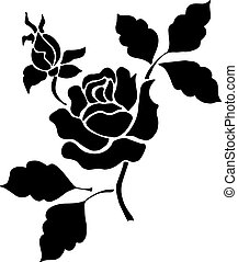 Silhouette of a black rose with leaves on a white background.