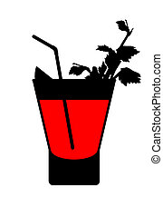 silhouette of a bloody mary cocktail with lemon, sprig of celery and tubule