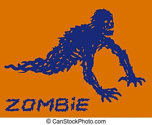Silhouette of a blue crawling zombie