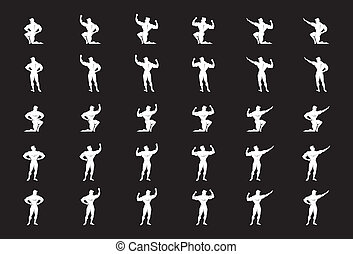 Illustration of a body builder posing in different positions