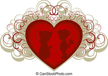 Silhouette of a boy and girl on the background of heart