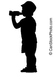 Silhouette of a boy in a cap who drinks water from a bottle