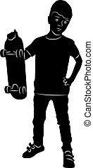 silhouette of a boy standing with a skateboard in his hand isola
