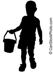 Silhouette of a boy who holds a small bucket in his hand