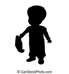 Silhouette of a boy who holds a watering can