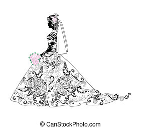 Silhouette of a bride