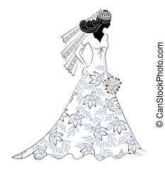 silhouette of a bride with a flower