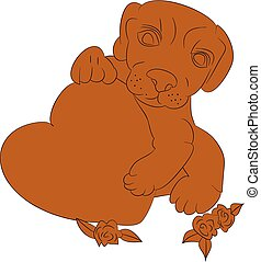 """Silhouette of a brown dog in the hands holds the heart, """"I love you"""", a cartoon on a white background."""