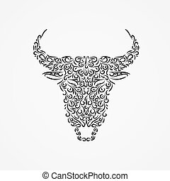Silhouette of a buffalo head from ornate shapes with an earring in the nose.