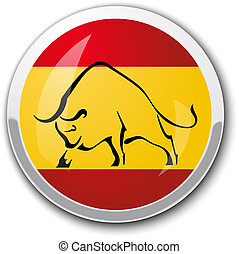 Silhouette of a bull in the national Spanish flag