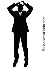Silhouette of a business man in a suit standing