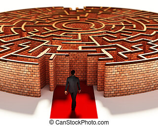Silhouette of a businessman standing at the door of round maze. 3D illustration