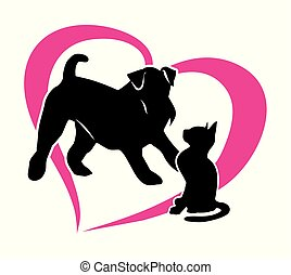 Silhouette of a cat and a dog. Isolated illustration on white background. Vector 2D