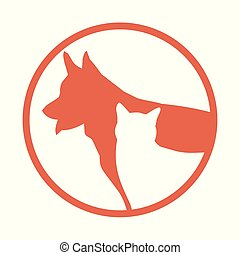 silhouette of a cat and a dog. red circle