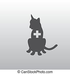 Silhouette of a cat on a white background.