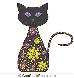 Silhouette of a cat with flowers on a white background for design tableware, packaging, greeting cards and other purposes, vector, isolated